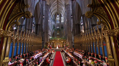 The weds, wide angle view of Westminster Abbey. YouTube 2011.