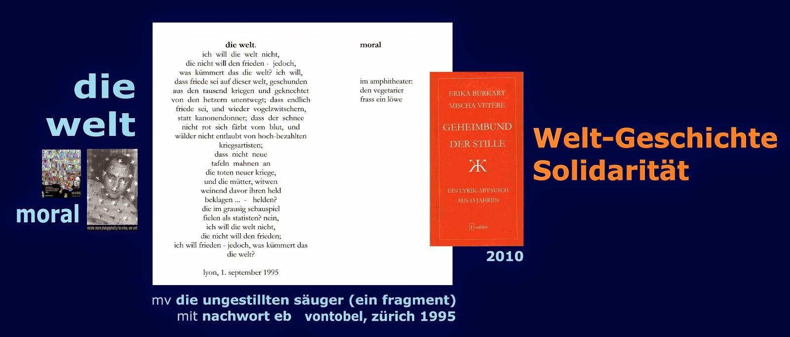 erika burkart mischa vetere GEHEIMBUND DER STILLE 2010 die ungestillten säuger (ein fragment) 1995
