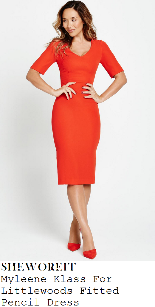 myleene-klass-bright-red-half-sleeve-v-neck-pencil-dress-classic-fm