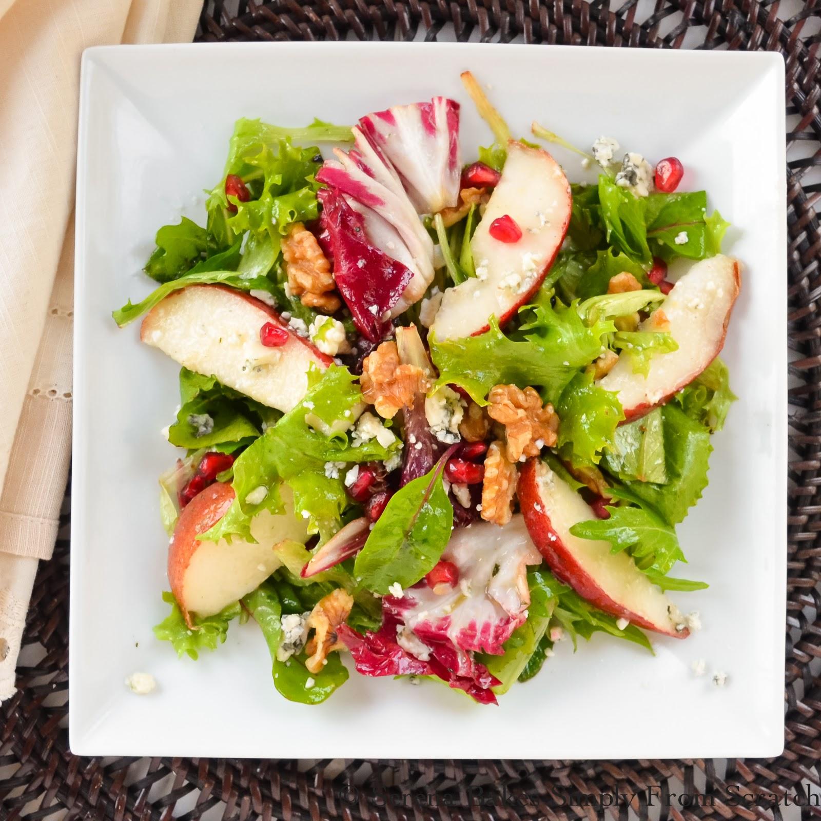 Savory Pear Pomegranate Gorgonzola & Walnust Salad With White Balsamic Vinaigrette