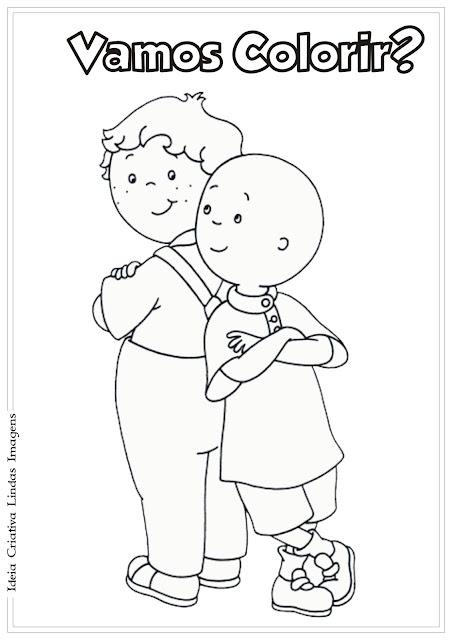 Desenho Caillou e amigo para colorir