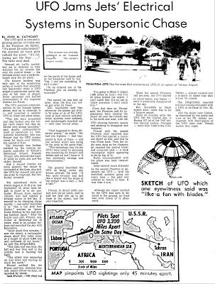 UFO Jams Jet's Electtricla Systems in Supersonic Chase - Kingsport Post 5-19-1977
