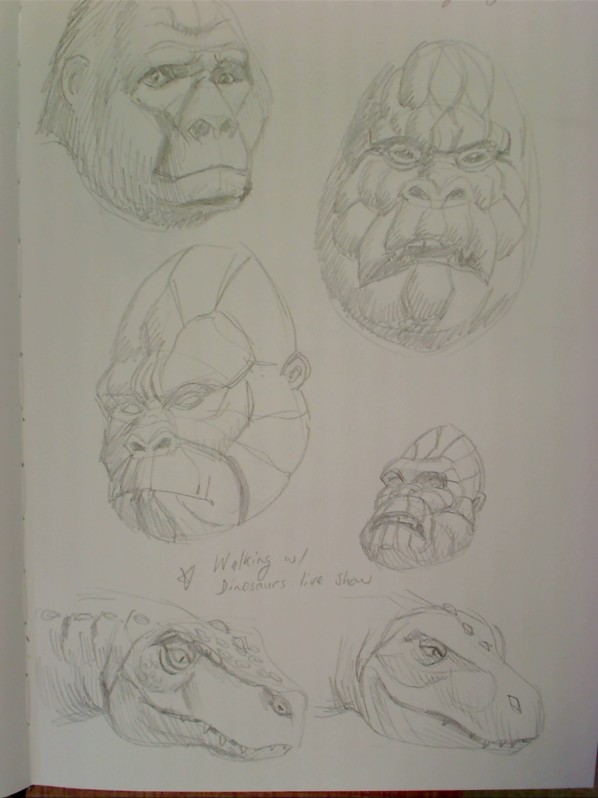 Sketchbook studies of King Kong