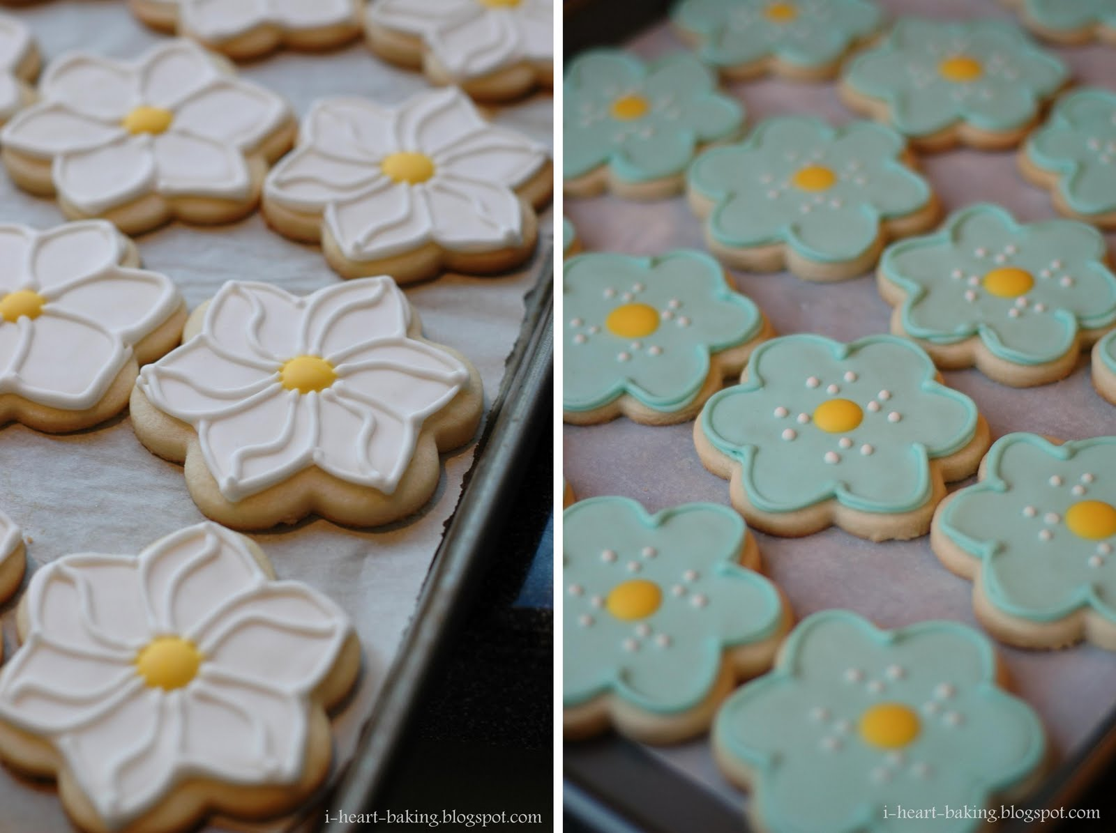 heart baking!: flower sugar cookies with royal icing