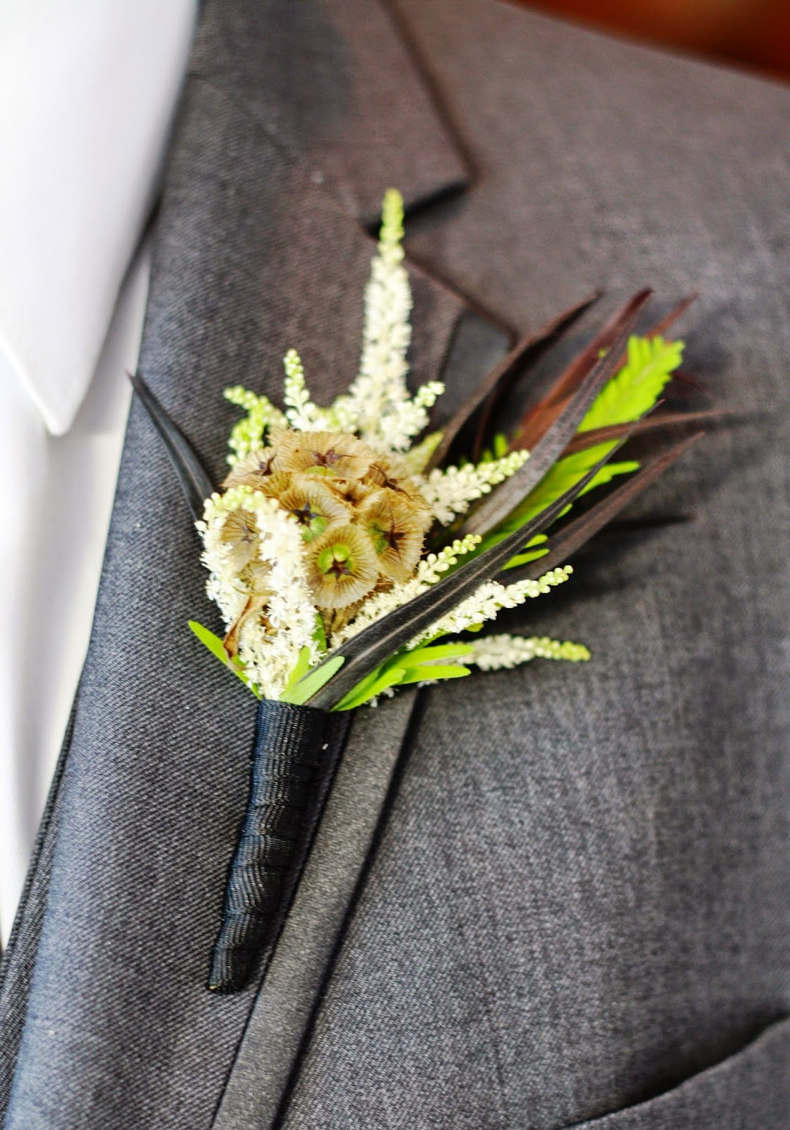 Scabiosa Pod and Astilbe Boutonniere - Boutonnieres - Wedding Flowers - Groom - Usher - Best Man - Groomsmen - Ushers - Groom's Boutonniere