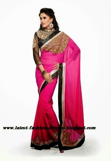 cock tail neck for full hand designer blouse with pink saree