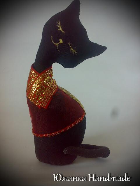 кофейная кошка статуэтка Китай покрашена акрилом