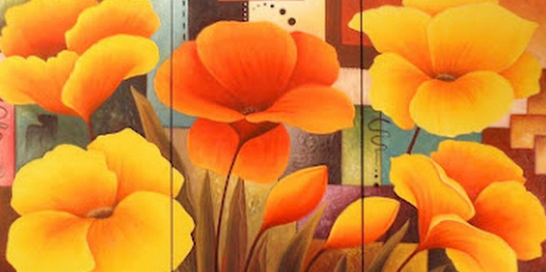 Pintura moderna y fotograf a art stica cuadros de flores for Cuadros tripticos grandes