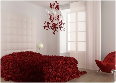 Bedroom with rose petals bedroom decorating ideas for Bed decoration with rose petals