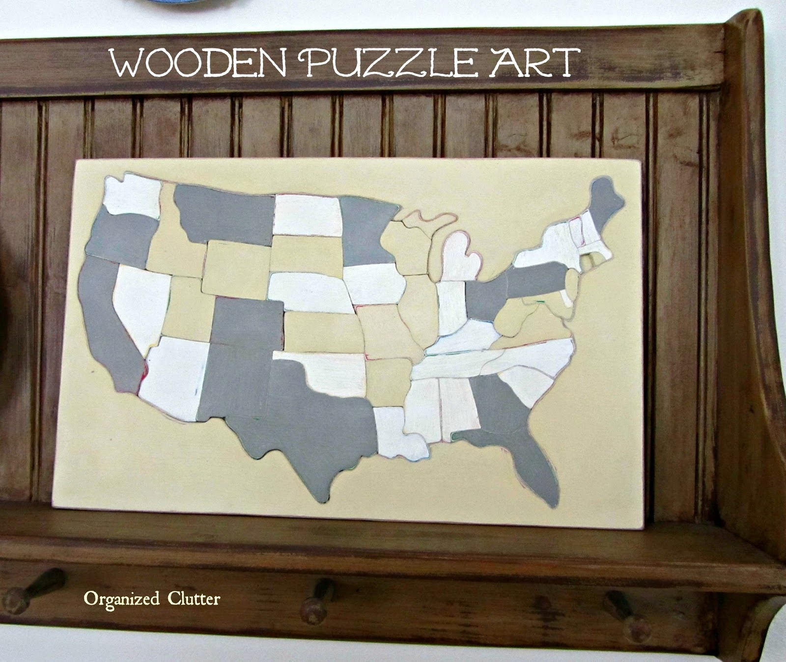 Vintage Sifo USA Puzzle Map Upcycle www.organizedclutterqueen.blogspot.com