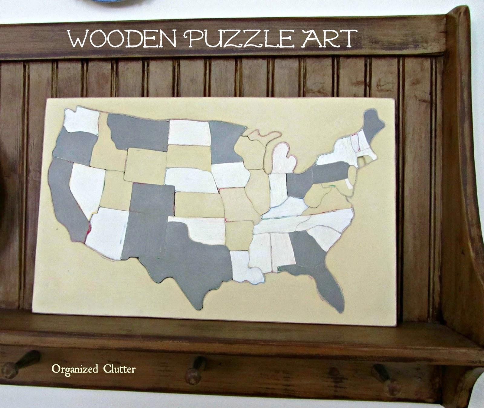 Organized Clutter Vintage Wood Puzzle Art