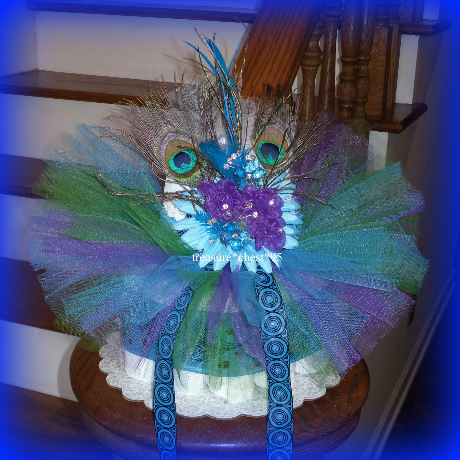 peacock diaper cake baby shower centerpiece decoration girl tutu gift