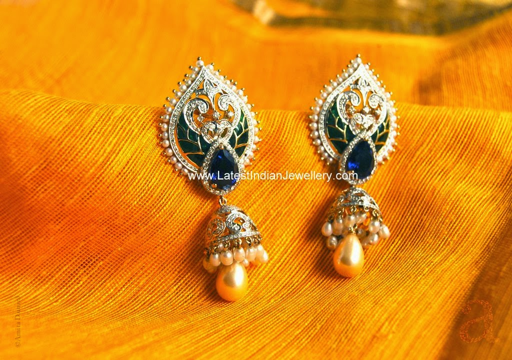 fancy designer diamond jhumkis
