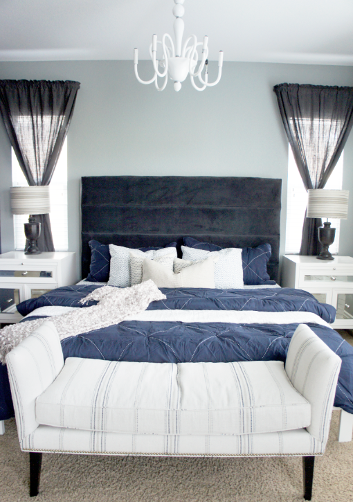 Cole Barnett Navy Blue and Gray Master Bedroom Remodel