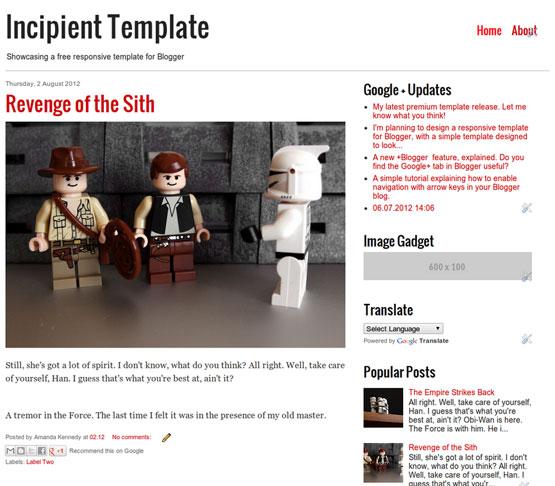 incipient responsive blogger template