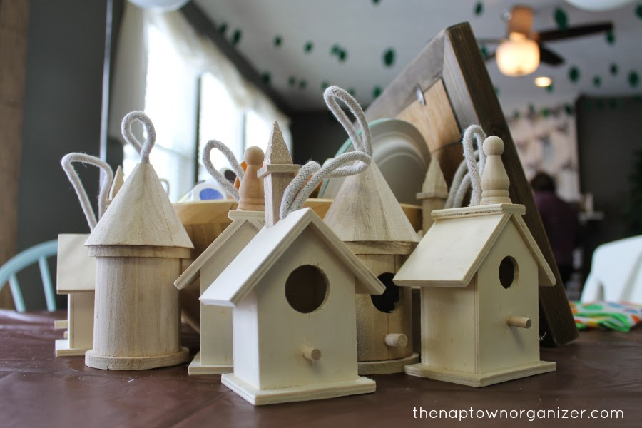 woodland birthday party games / fun - painting birdhouses