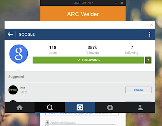 install instagram, path, bbm, line di windows dengan ARC welder