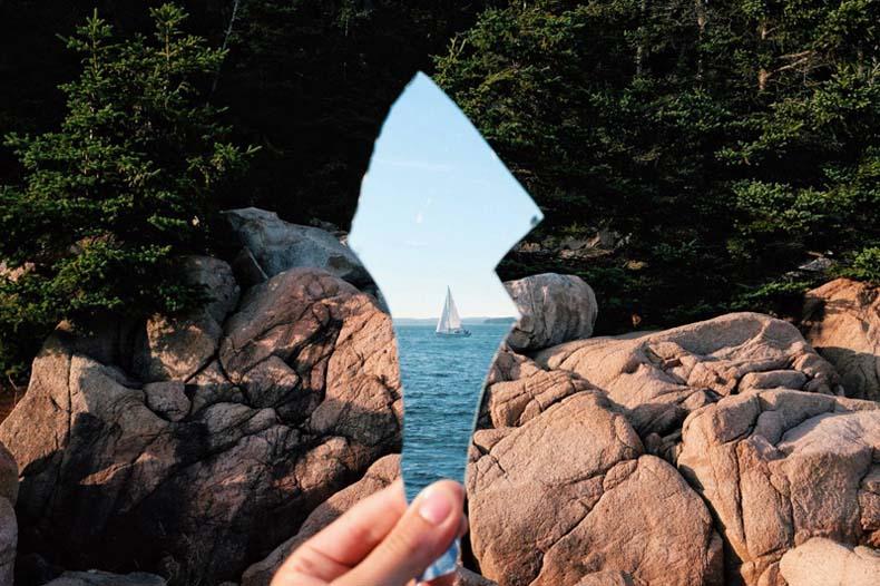 Imagen del día: Velero reflejado en un espejo roto