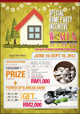 Special Home Party Incentive (For 4Life Female Distributors Only)