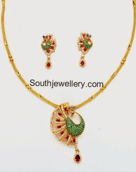 gold chain with peacock pendant sets