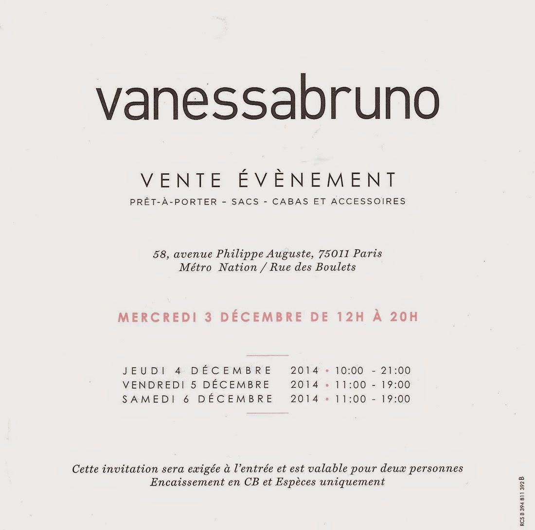 vente privée vanessa bruno - décembre 2014