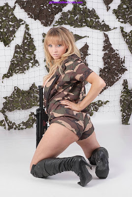 Sexy Camo Ass  Blonde Elle with Gun and Boots