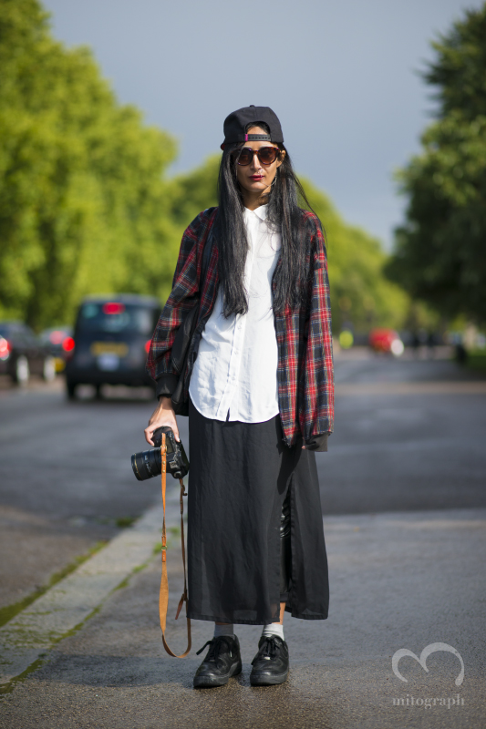 Photographer Nadia Sarwar at Burberry Prorsum show during London Fashion Week 2014SS season