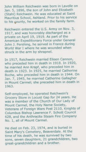 Bio for John Williams Reichwein - on Ancestry via The Shamokin News - My Family History Journey - Debbie Lowrance