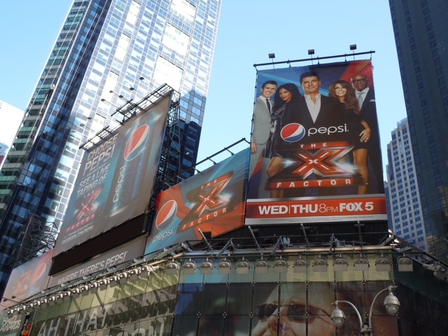 X Factor Pepsi billboards Times Square NYC