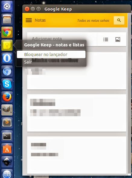Google Keep no Ubuntu