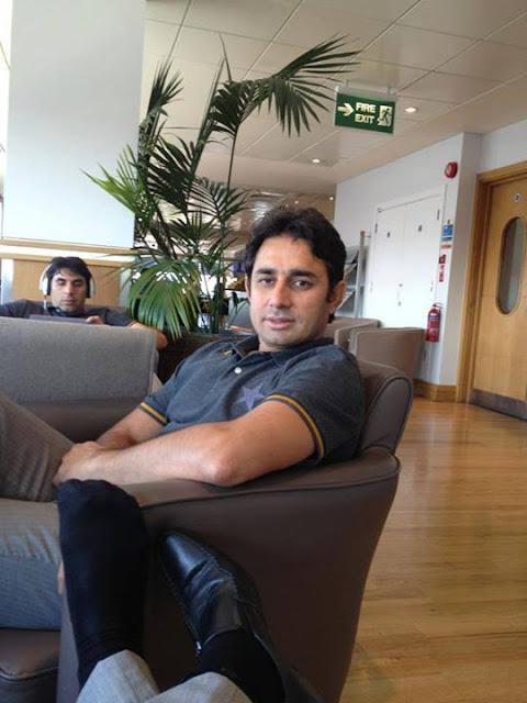 Pakistani Cricket Team in London Gatwick Airport - Saeed Ajmal And Misbah ul Haq