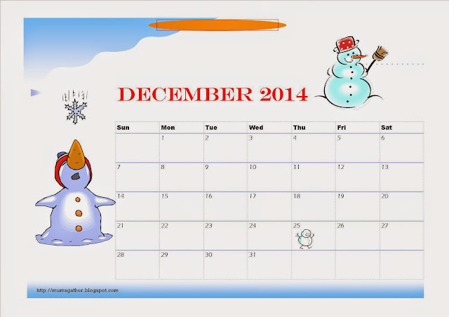 December 2014 Calendar For Children Snowmen
