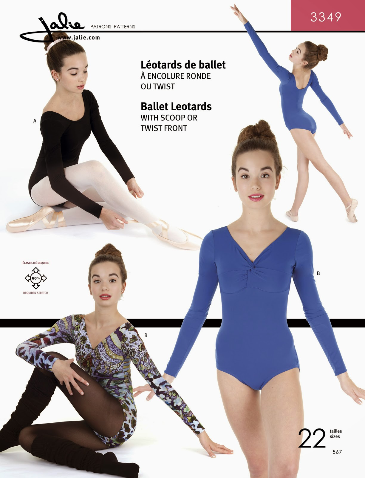 Jalie 2563 Short Tights Sport Tops Gymnastics Exercise Costume Sewing Pattern