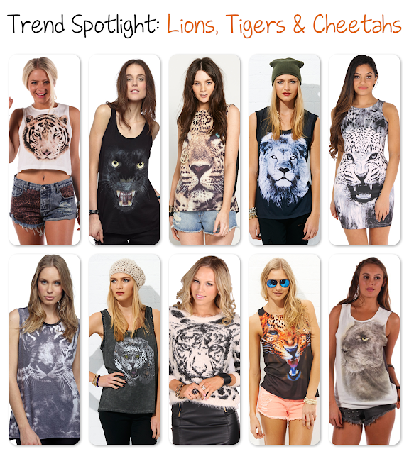 Lions, Tigers and Cheetahs is the Trend Spotlight for this week, full of fashion featuring big cats!
