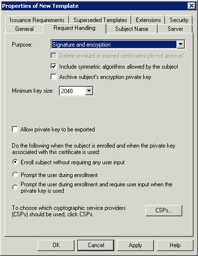 Itechnology blog installing windows 2008 r2 certificate services in the request handling tab click on the csps button yadclub Images