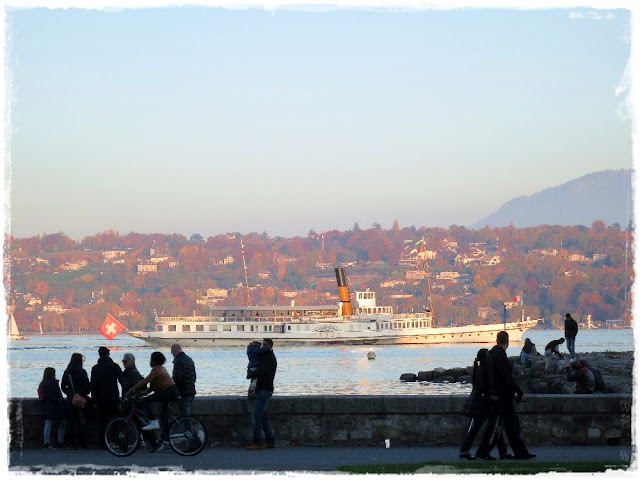 A Lake Geneva tourist boat returning to dock for the evening – Geneva, Switzerland.