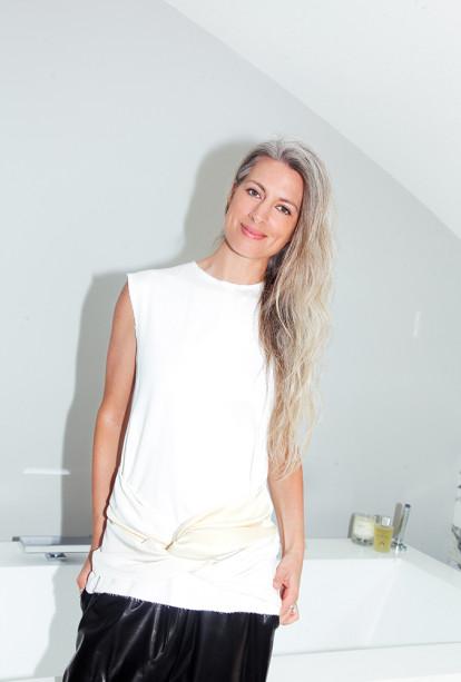 Sarah Harris Grey Long Hair