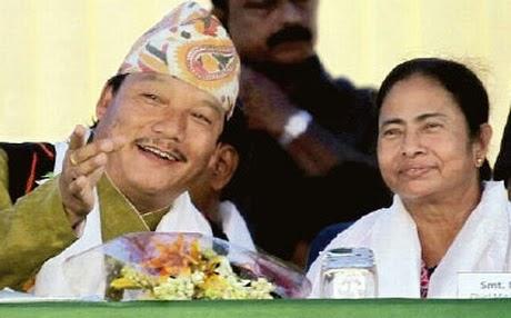 Bimal Gurung and Mamata Banerjee in Darjeeling
