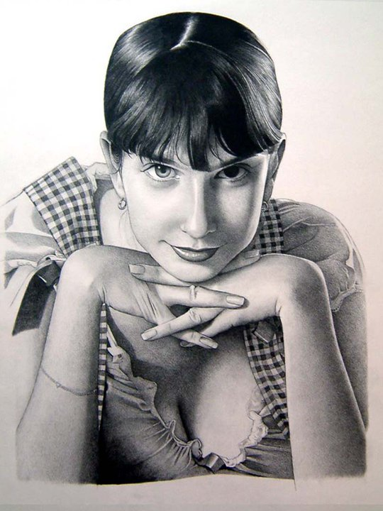 """Portrait of the voluptuous Russian beauty Yulia Nova"" Charcoal on 18""x24"" paper 2009"