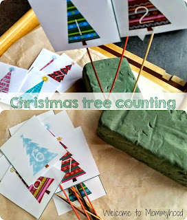 Christmas activities for kids: Christmas tree counting cards printable and fine motor activity {Welcome to Mommyhood} #christmasactivitiesforkids, #freeprintables, #montessoriinspired