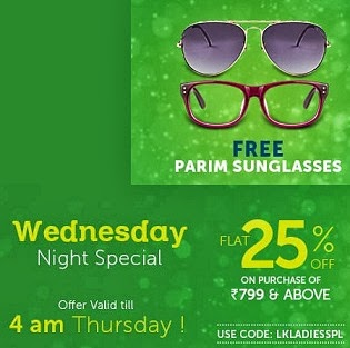 Lenskart Double Dhamaka : Buy Sunglasses / Eyeglasses worth Rs.799 or above and Get Flat 25% Off +  Free Parim Sunglasses (Valid till 4.00 AM 26th Sep'13 )