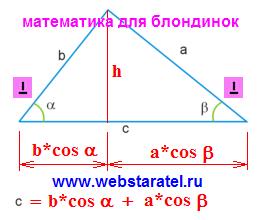 Площадь треугольника через котангенс. Проекции сторон на основание треугольника. Высота треугольника. Математика для блондинок.