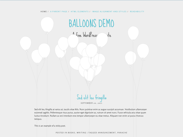 Ballons - free scrolling WordPress theme