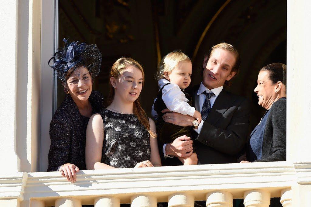 Princess Caroline of Hanover, Princess Alexandra of Hanover, Sacha Casiraghi, Andrea Casiraghi and Princess Stephanie of Monaco attend the balcony parade during the Monaco National day