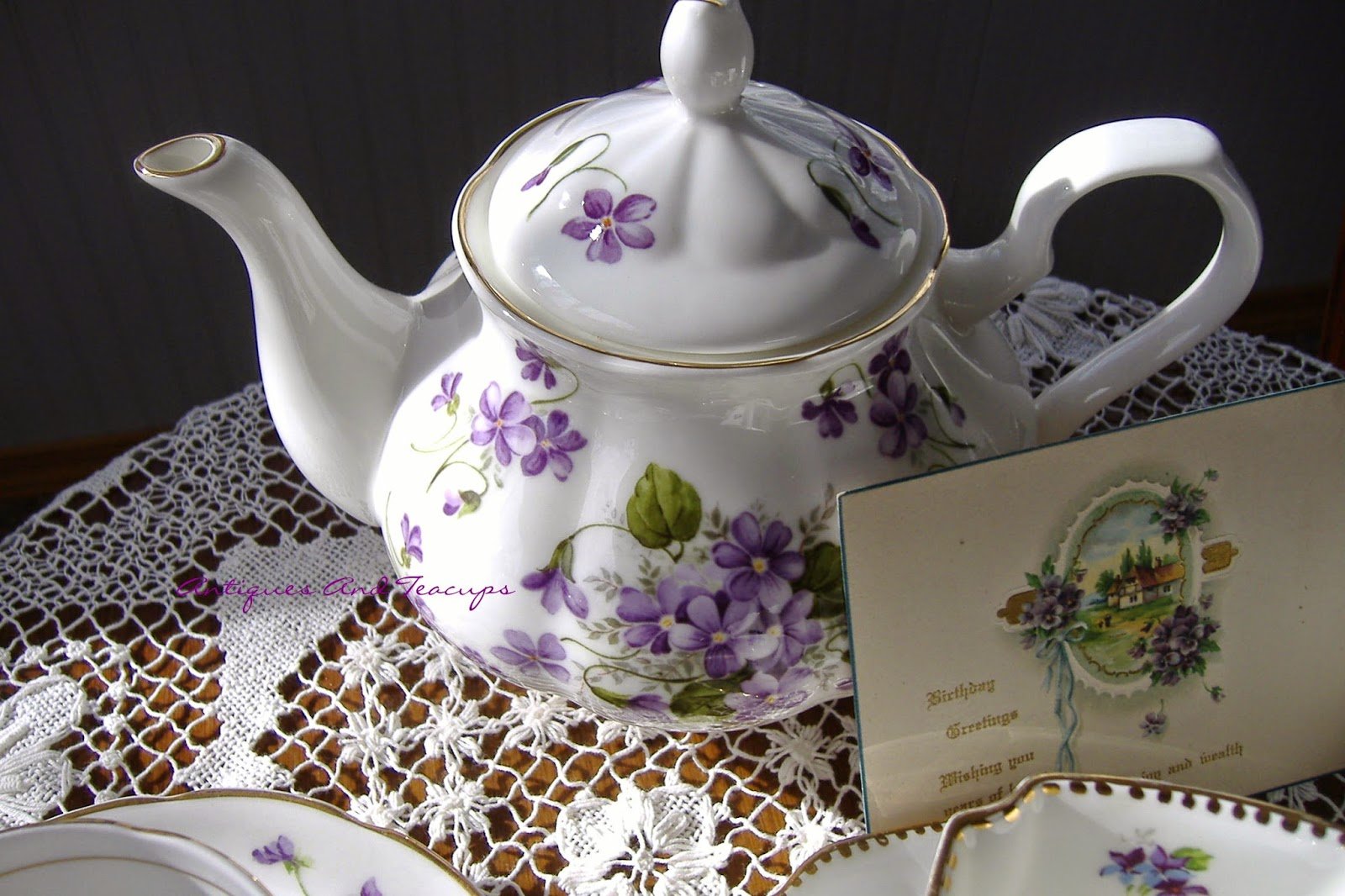 antiques and teacups  tuesday cuppa tea  violets tea