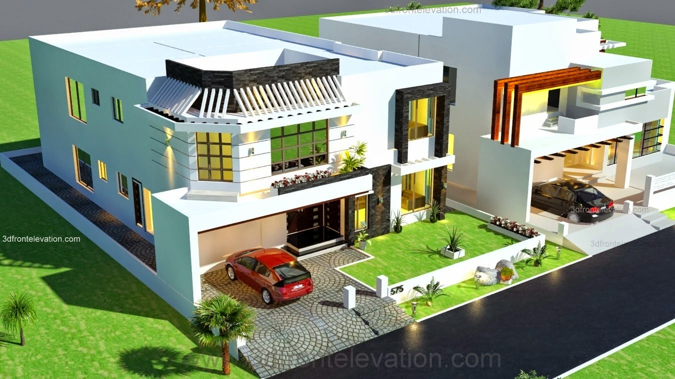 3d front 1 kanal house drawing floor plans