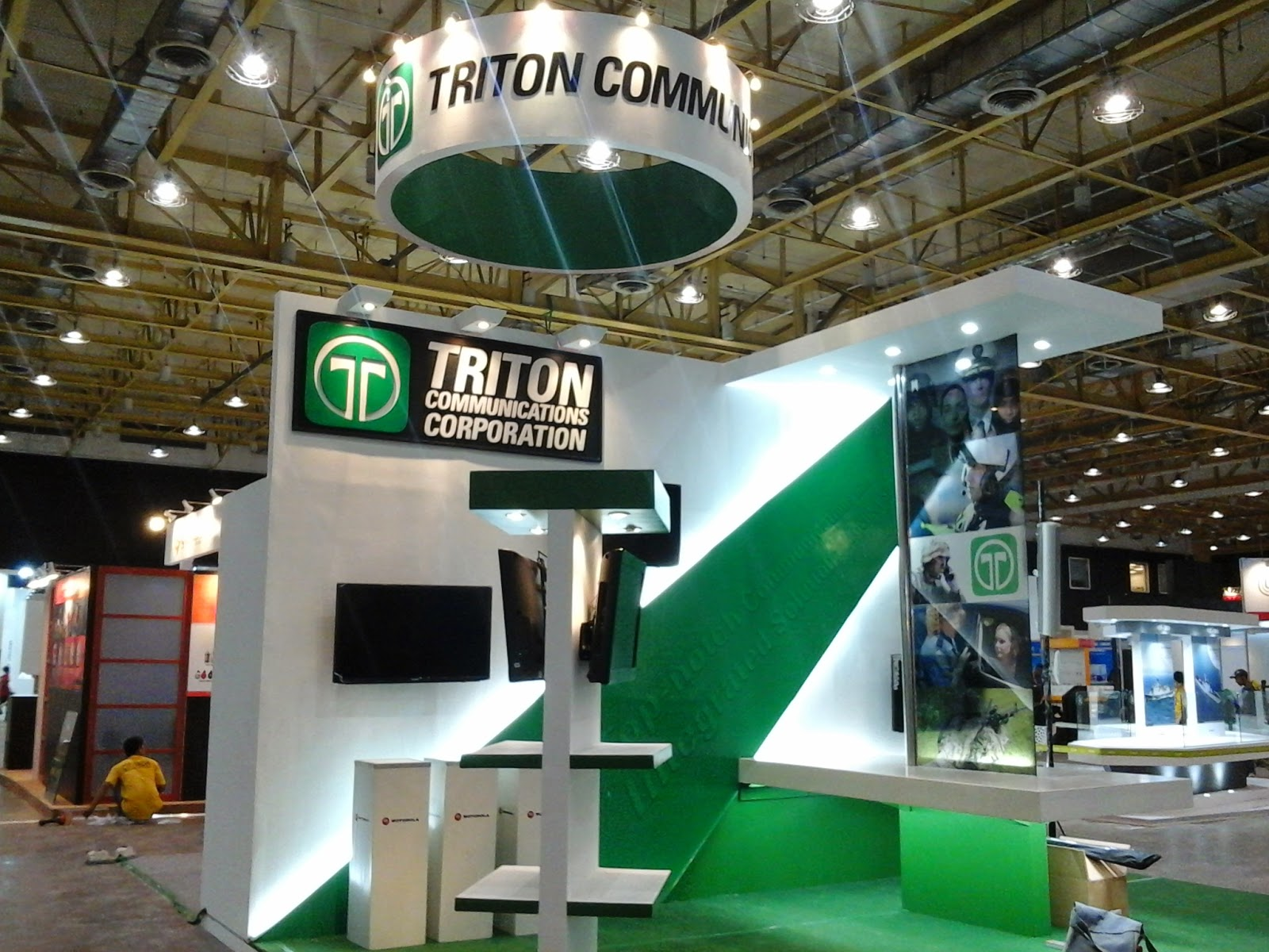 Side View of Triton Communications Corporation Trade Show Booth