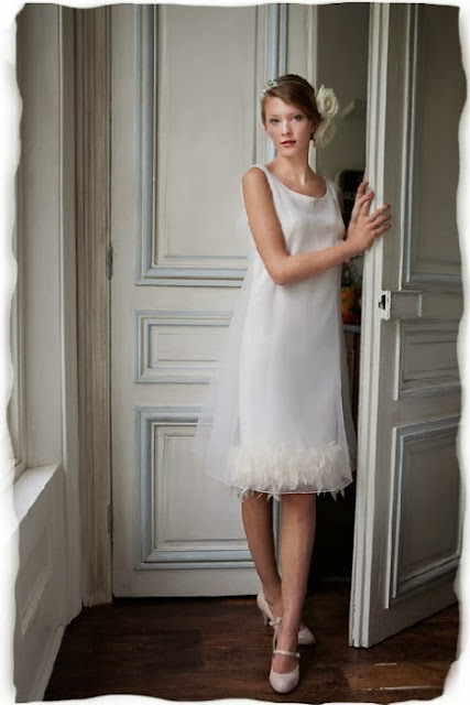 John Bates ostrich feather trimmed 1960s wedding dress c. HVB vintage wedding blog 2013