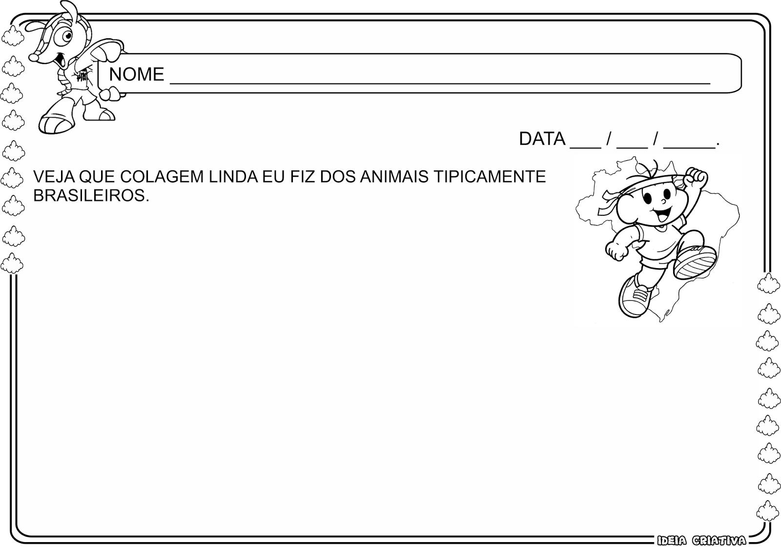 Atividade Animais tipicamente brasileiros Copa do Mundo Colagem Maternalzinho
