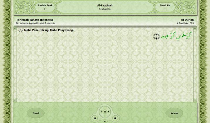 Tampilan terjemahan per ayat dari surat yang dibaca pada aplikasi Juz'Amma untuk PC